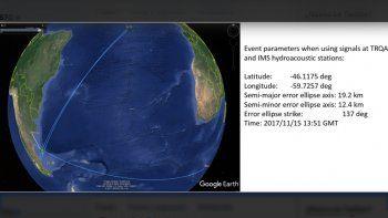 Difunden una ubicación más exacta de la anomalía del ARA San Juan