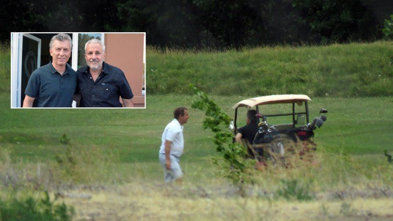 Macri jugó al golf en Los Canales de Plottier