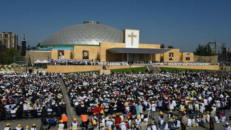Francisco ofició una misa en un colmado Parque OHiggins.
