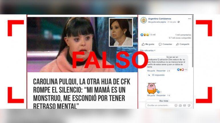 Es falso que CFK tiene una hija escondida con síndrome de Down
