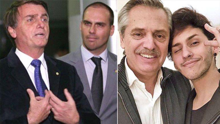 Violencia, discriminación y tensión con Brasil: el hijo de Bolsonaro se burló del hijo de Alberto Fernández