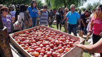 En noviembre, Carlos Carrascós, productores y militantes sociales repartieron gratis manzanas para visibilizar el plan de frutas contra el hambre.