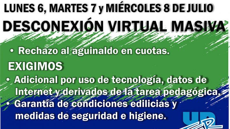Los docentes arrancan un paro virtual en todo Río Negro