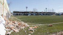 La postal del inicio de la obra en el estadio del Club Cipolletti.
