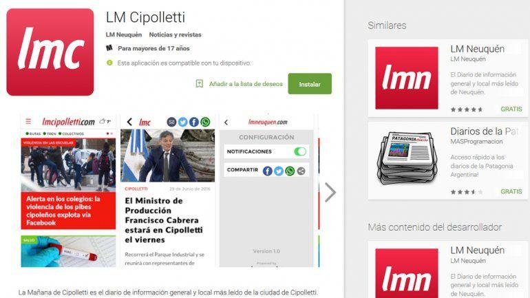 La app de LM Cipolletti se baja sin cargo desde Play Store e IOS.