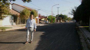 Tortoriello recorrió y festejó por la primera obra de asfalto
