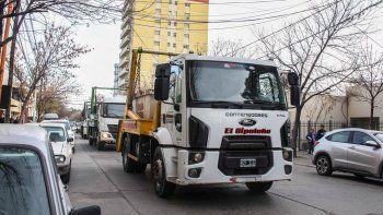 Los prestadores de servicios de contenedores protestaron ayer en el centro.