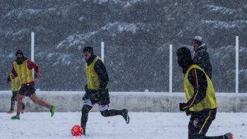 La práctica de fútbol del jueves del plantel barilochense.