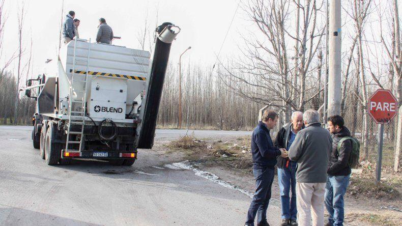 La máquina fue probada la semana pasada en la obra de calle Mengelle.