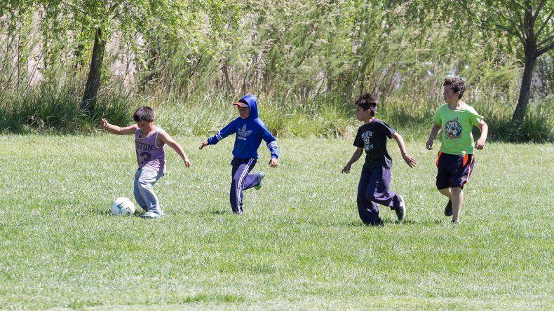 Los pibes se divierten mucho a la hora de patear la pelota sobre el césped.