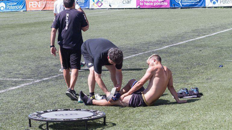 Coco Giménez no pudo completar la práctica por un golpe.