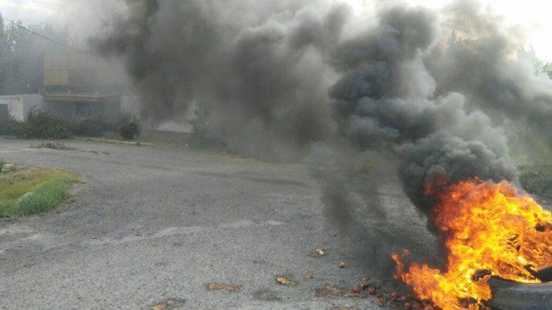 Volvieron a quemar manzanas frente a la Secretaría de Fruticultura.