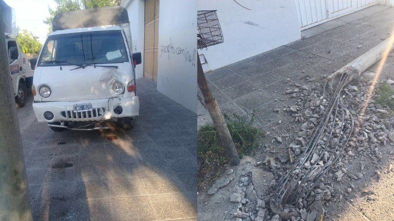 Un camión que presta servicio a la Muni perdió el control y chocó contra un poste