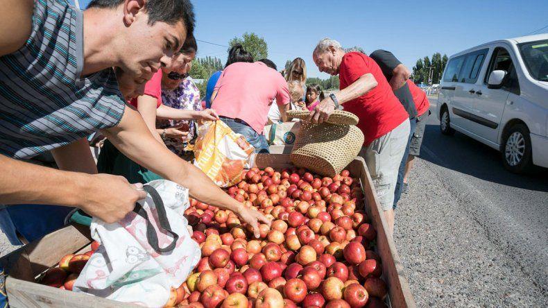 Los chacareros regalaron más de 30 toneladas de manzana ayer en la Ruta 22