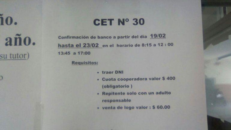 En el CET 30 exigían como requisito obligatorio para inscribirse pagar $400 para la cooperadora.