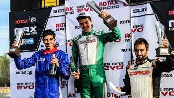 Riquelme, Samcov y Mackenzie, el podio de la categoría Senior Rotax.