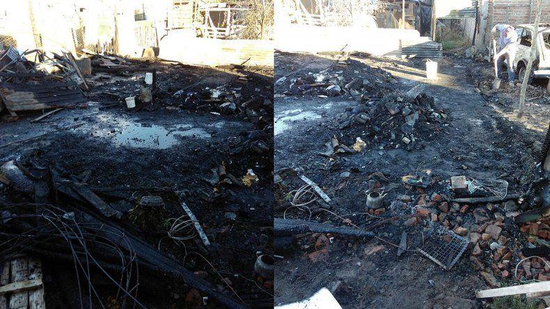 Se prendió fuego una casilla en la 4 de Agosto y toda una familia quedó en la calle