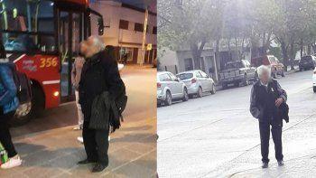 el abuelo punga mete miedo en las paradas de colectivo de la ciudad