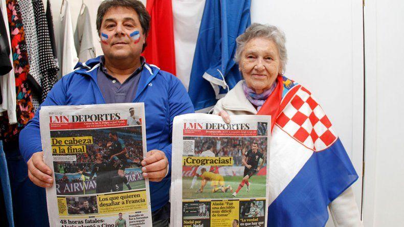 Serge y Catalina viven en Cipolletti y el domingo verán la final entre Francia y Croacia a la distancia.