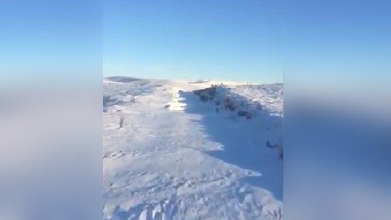 Mirá cómo el Tren Patagónico se abre paso en la nieve