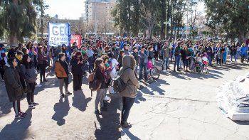 Docentes y alumnos de la Universidad Nacional del Comahue se movilizaron ayer por las calles de Cipolletti.