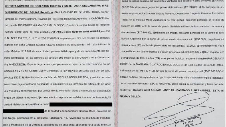 Aguiar presentó su patrimonio personal: sueldo de $60 mil, una casa de plan y un terreno