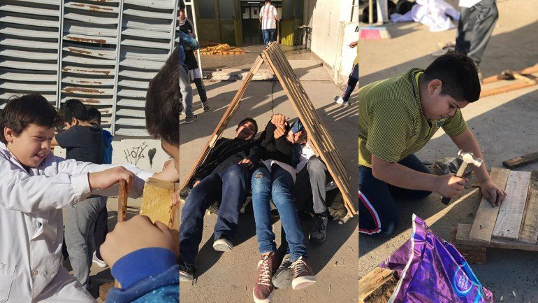 Corazón de oro: alumnos de primaria construyeron cuchas para los perritos de la Isla Jordán