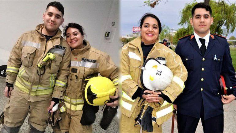 Gabriela y su hijo Enzo, también bombero.