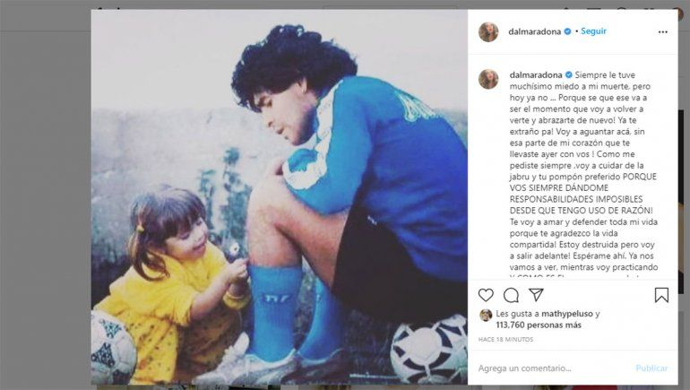 Dalma Maradona despidió a su papá en las redes