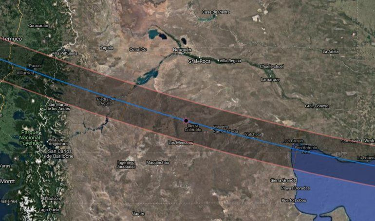 Así será la trayectoria de la sombra del eclipse, de oeste a este.