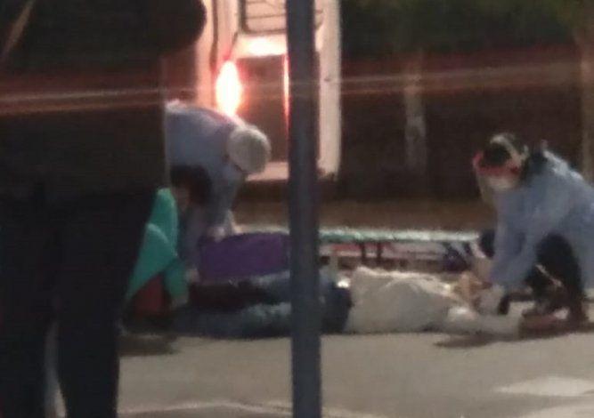 El motociclista fracturado en 25 de Mayo y Laprida.
