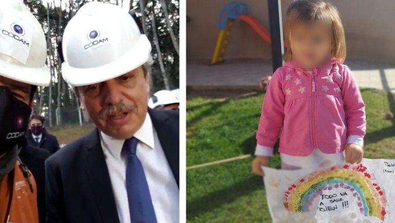 El mensaje del presidente que sorprendió a una nena neuquina de 2 años