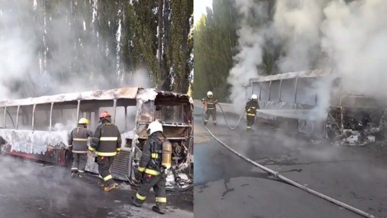Un colectivo de la empresa Koko se prendió fuego sobre la Ruta 22