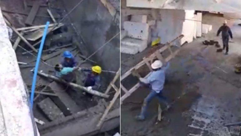 Video: así rescataron a un obrero atrapado tras el derrumbe