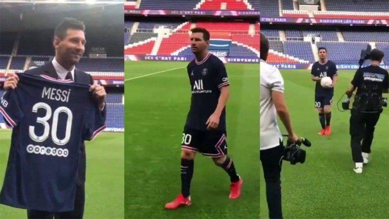 Messi ya se puso la camiseta del PSG e hizo jueguitos: video