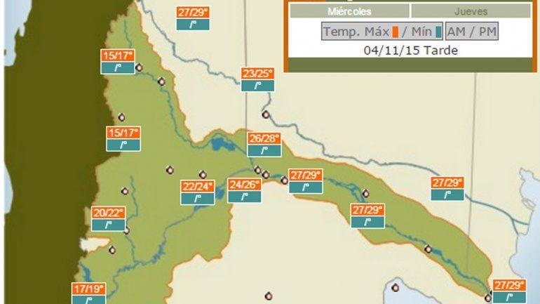 Las temperaturas máximas en el valle rondarán los 29°C.