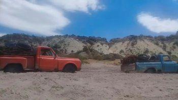 El rescate de la camioneta del amigo. Se rompió la Chevrolet al sur de Las Grutas, y la llevó de tiro hasta San Antonio.