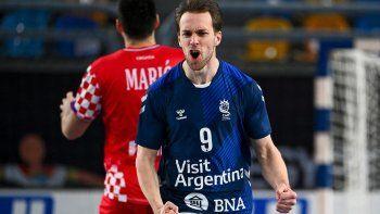 Santiago Baronetto lo grita con alma y vida, uno de los tantos del equipo argentino que ganó un partido clave ante Croacia.