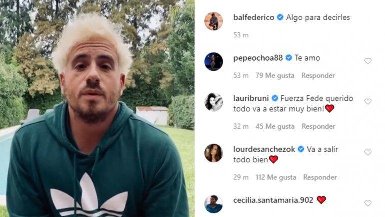 Federico Bal anunció con un video que padece cáncer