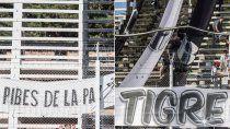 La tribuna lateral ocupada por La Banda del Tigre es lo que se disputan.