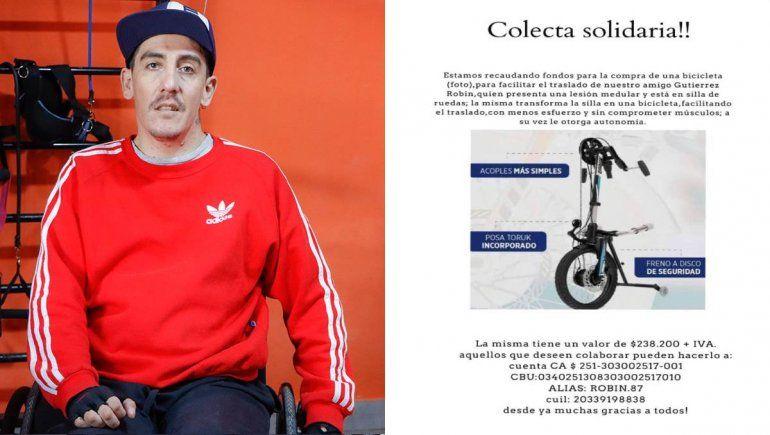 Se cayó, quedó tetrapléjico y necesita una bici adaptada para andar por la ciudad