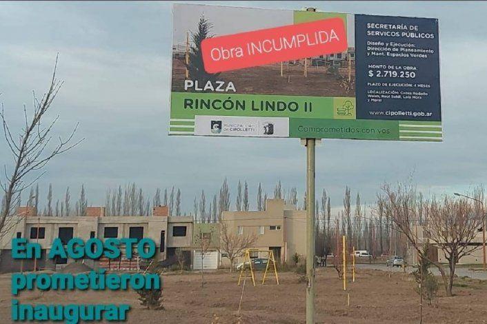 Prometieron una plaza a los vecinos y la obra no avanza