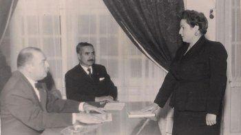 Dominga Cicirillo con el Ingeniero Alonso y Alfredo De Martín.