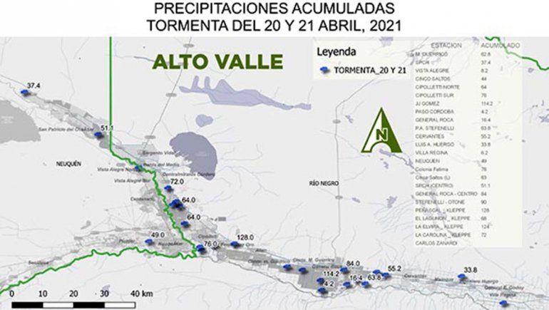 Fernández Oro, la localidad del Alto Valle rionegrino en la que más llovió