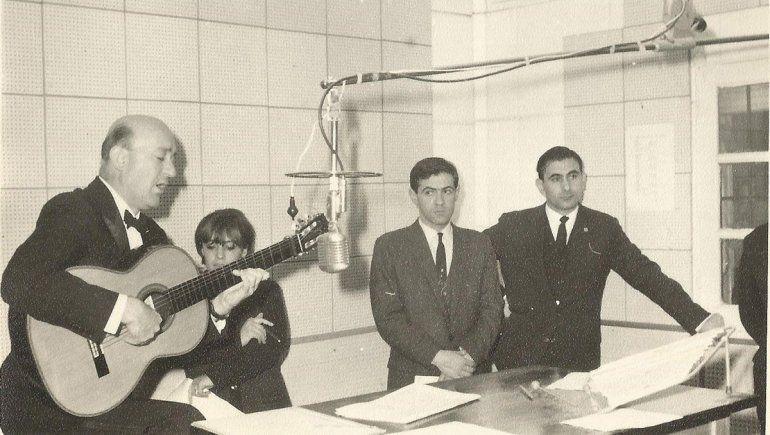 Fernández Garro, en el medio, con Eduardo Falú y Abraham Thomé.