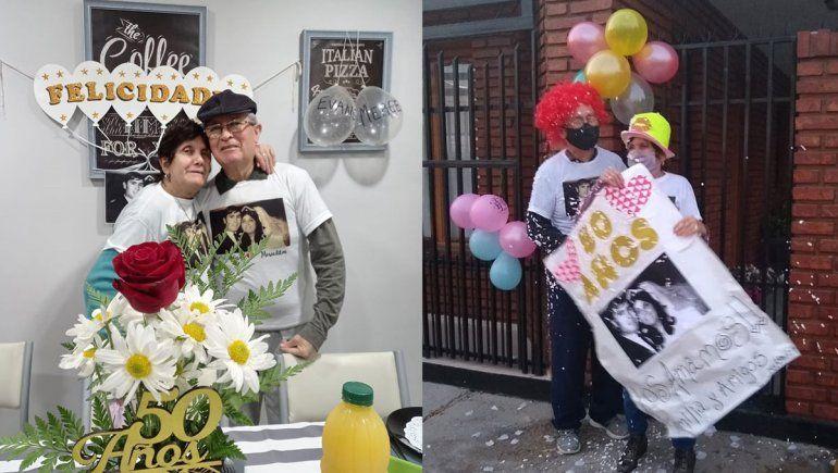 Bodas de Oro en pandemia: el matrimonio que emocionó a Centenario con un vals en la vereda