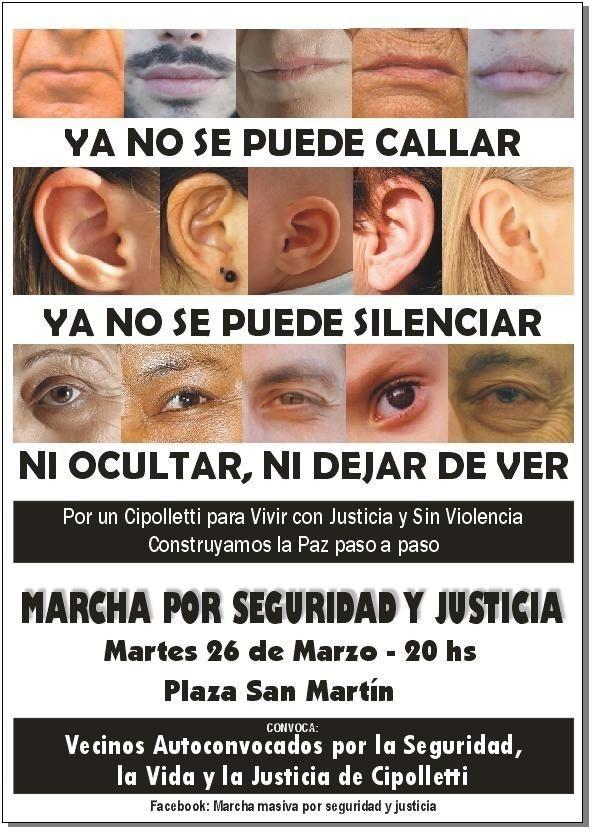 """Convocan a participar a la """"Marcha por seguridad y Justicia"""""""