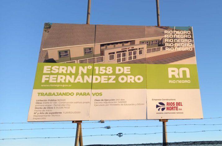 Piden que se clausure la obra de la escuela 158 de Fernández Oro