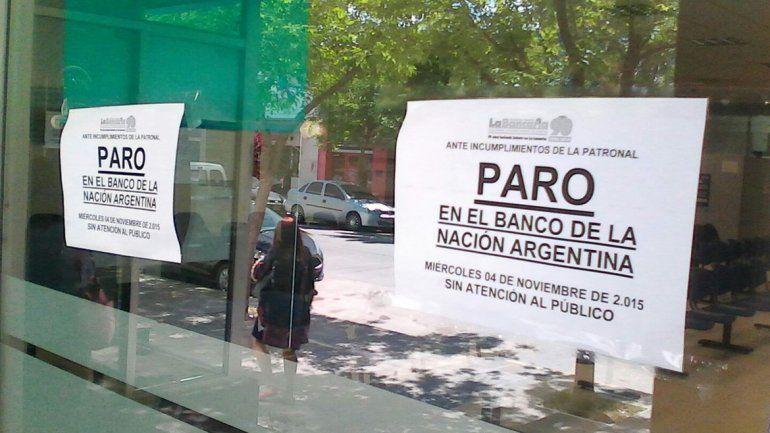 No hubo atención en el Banco Nación por un paro