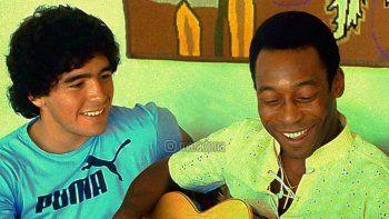 Maradona y Pelé con la guitarra en otros momentos de alegría.